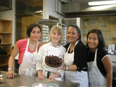 Ivorie with fellow classmates and Chef Faith Drobbin during the Cake Making Class at the Institute of Culinary Education in New York City
